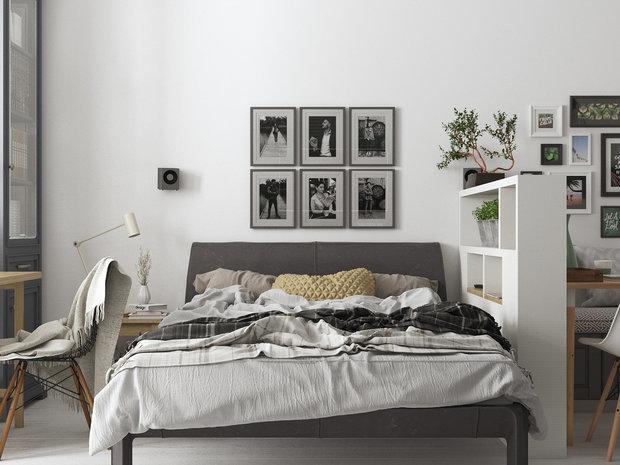 Фотография: Спальня в стиле Скандинавский, Советы, Зонирование, зонирование однушки, зонирование студии, энциклодпедия_малогабаритка, Любимые приемы – фото на INMYROOM