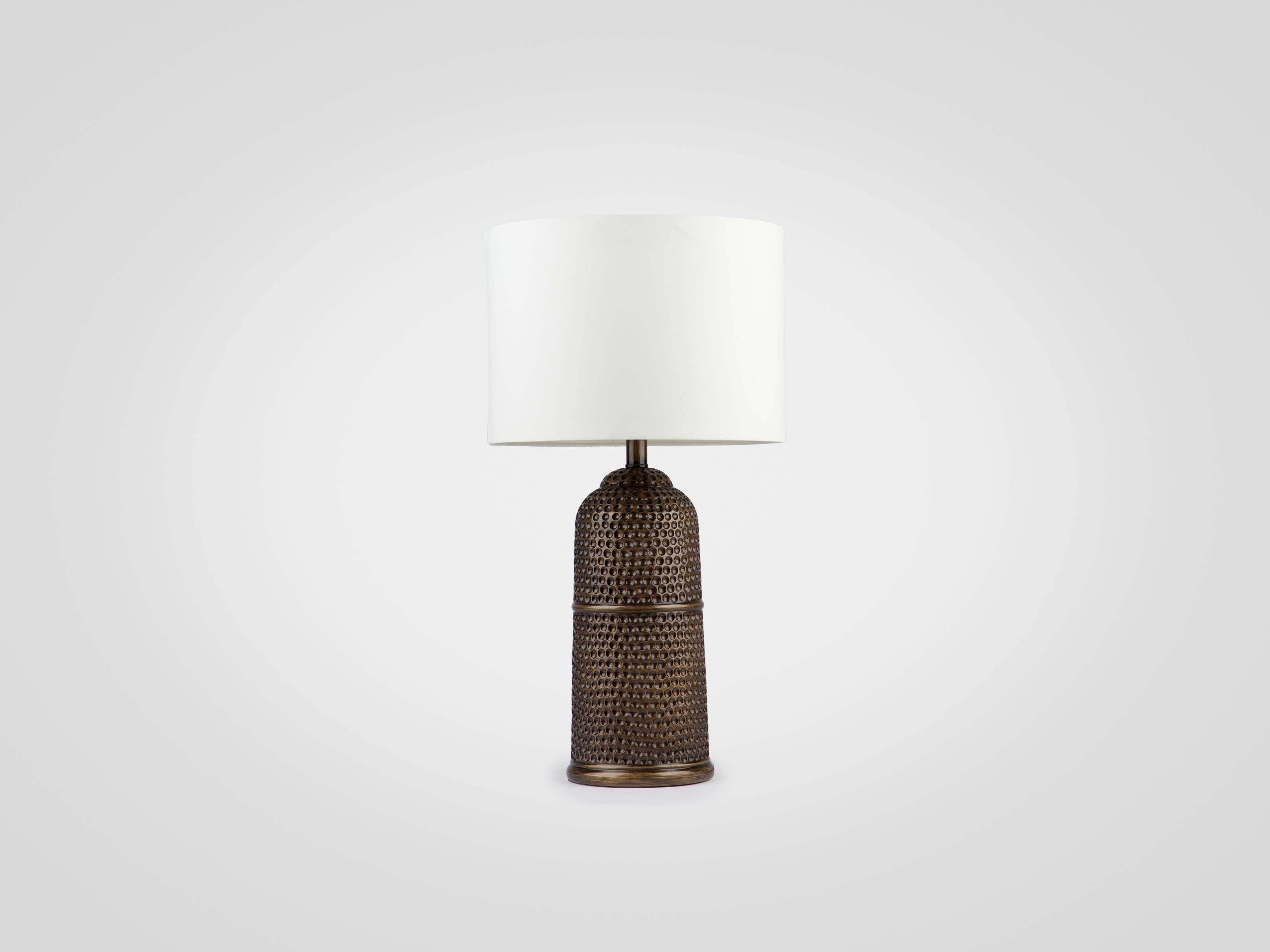 Купить Лампа настольная на декоративной ножке цвета состаренного металла с белым абажуром, inmyroom, Китай