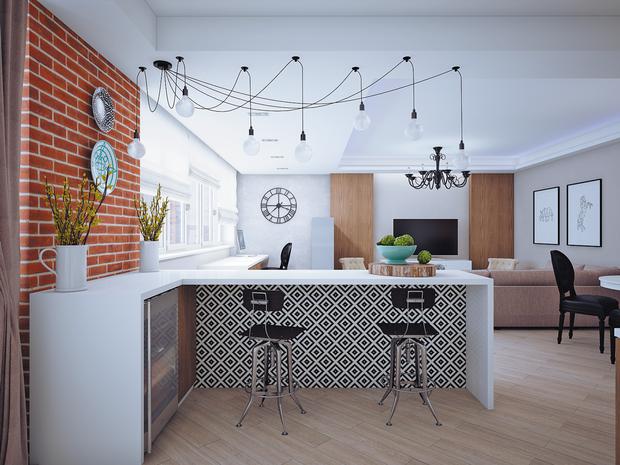 Фотография: Кухня и столовая в стиле Лофт, Современный, Эклектика, Классический, Квартира, Планировки, Мебель и свет, Проект недели – фото на InMyRoom.ru