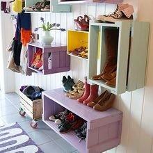 Фотография: Прихожая в стиле Кантри, Скандинавский, Советы, хранение обуви, идеи хранения обуви – фото на InMyRoom.ru