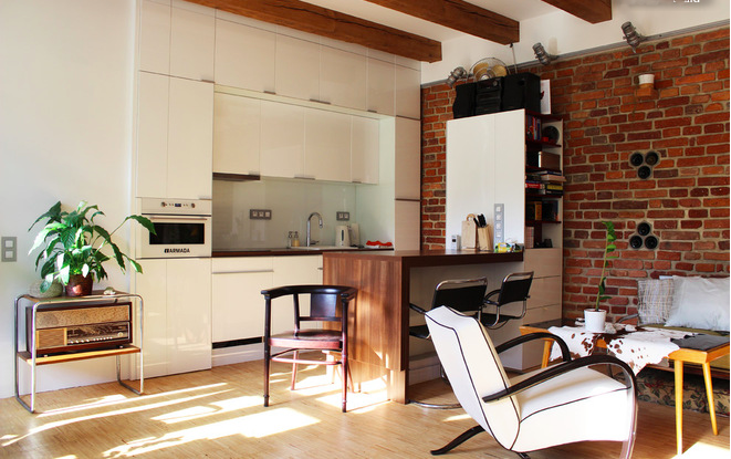 Фотография: Кухня и столовая в стиле Лофт, Квартира, Дома и квартиры, Переделка – фото на InMyRoom.ru