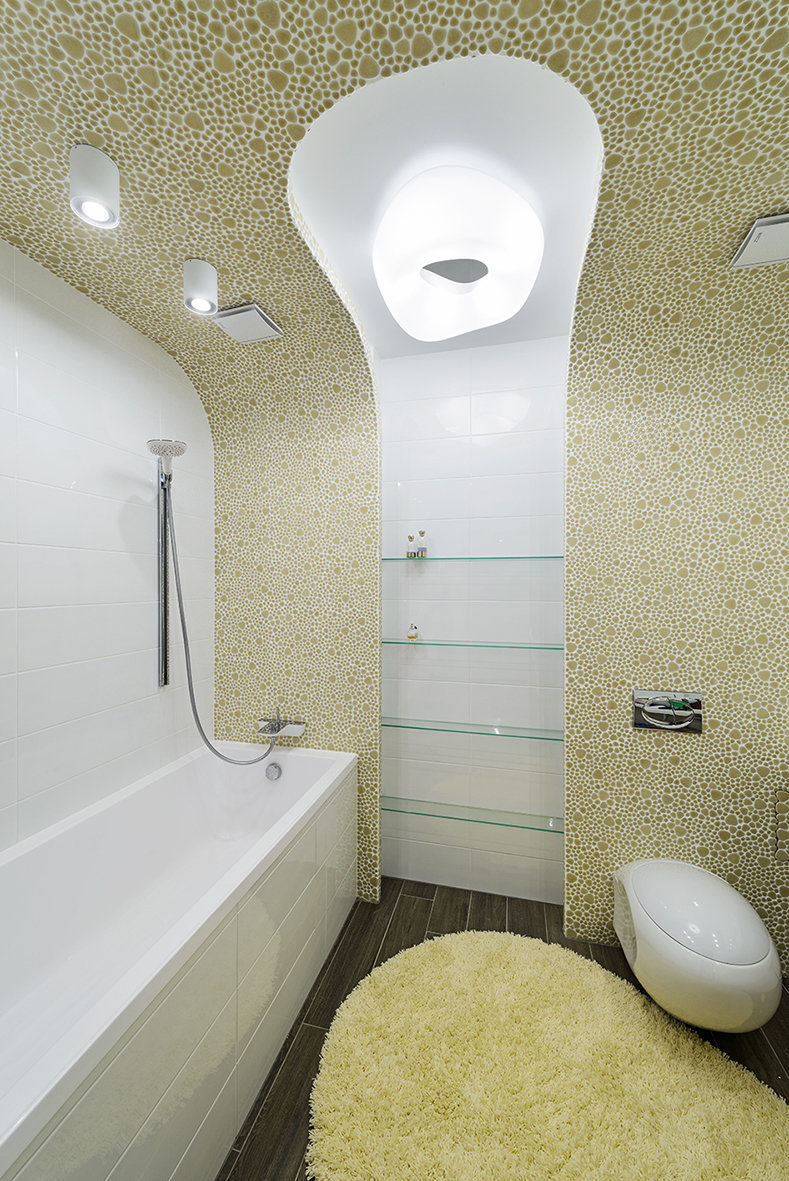 Фотография: Ванная в стиле Хай-тек, Квартира, Цвет в интерьере, Дома и квартиры, Белый – фото на InMyRoom.ru