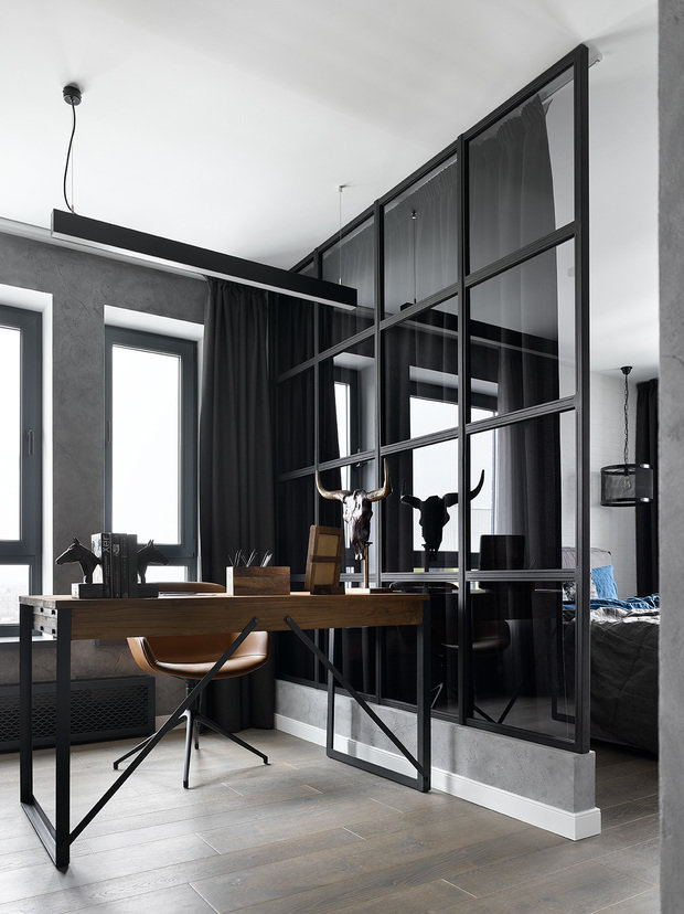 Фотография: Кабинет в стиле Лофт, Квартира, Проект недели, Москва, 2 комнаты, 3 комнаты, 60-90 метров, Анастасия Уфимцева – фото на INMYROOM