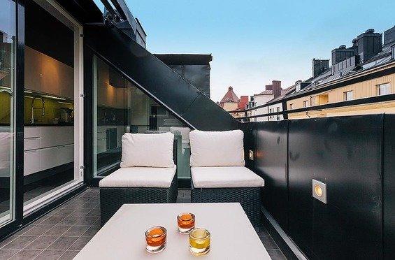 Фотография: Балкон в стиле Современный, Декор интерьера, Квартира, Дома и квартиры, Пентхаус, Стокгольм, Мансарда – фото на InMyRoom.ru
