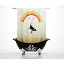 Штора для ванной: Радужный кит