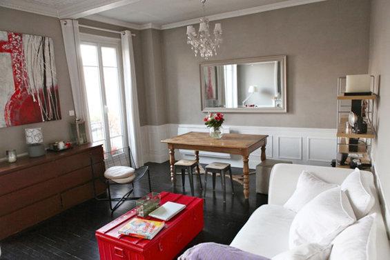 Фотография: Гостиная в стиле Прованс и Кантри, Малогабаритная квартира, Квартира, Дома и квартиры, Переделка, Париж – фото на InMyRoom.ru