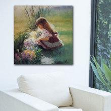 """Дизайнерская картина на холсте """"Девочка на полянке"""""""