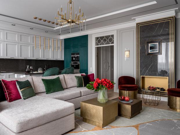Фотография: Гостиная в стиле Классический, Современный, Квартира, Проект недели, Одинцово, Мария Рублева, 3 комнаты, Более 90 метров, #эксклюзивныепроекты – фото на INMYROOM
