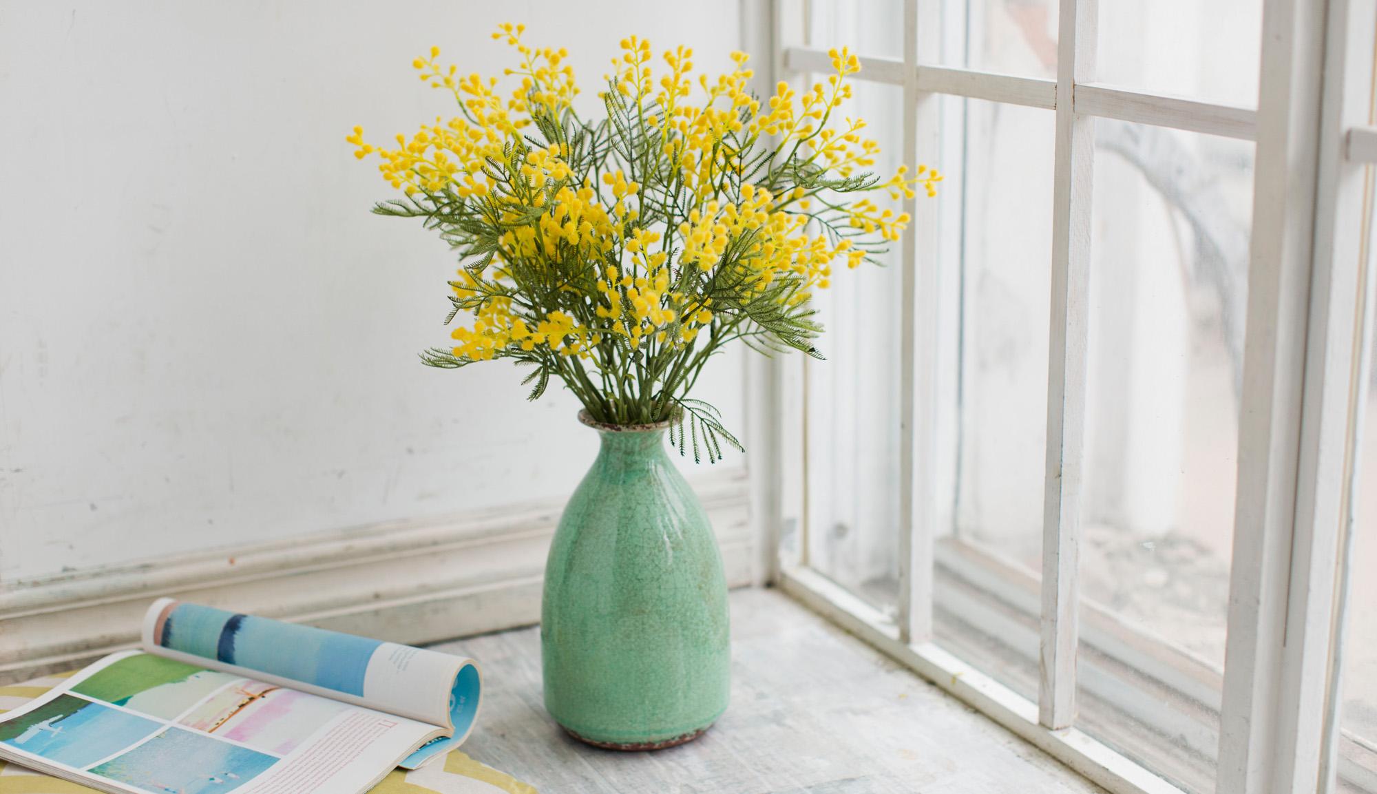 Купить Композиция из искусственных цветов - мимоза в вазе, inmyroom, Россия