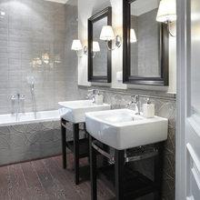 Фотография: Ванная в стиле Кантри, Квартира, Цвет в интерьере, Дома и квартиры, Белый, Зеленый, Синий – фото на InMyRoom.ru