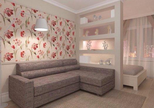 Фотография:  в стиле , Гостиная, Спальня, Малогабаритная квартира, Советы, Hoff, зонирование комнаты – фото на InMyRoom.ru