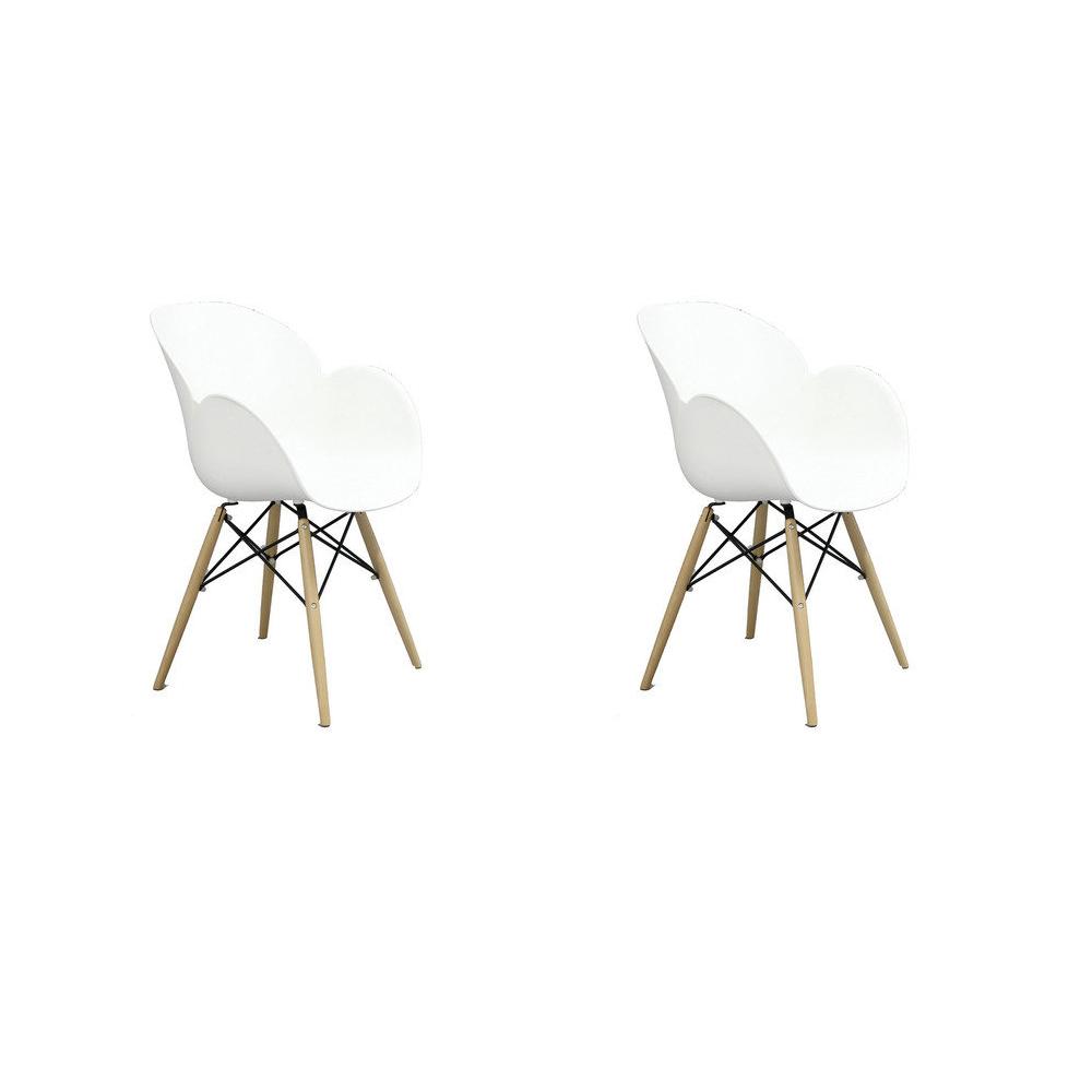 Купить Набор из двух стульев на деревянных ножках белого цвета, inmyroom, Китай