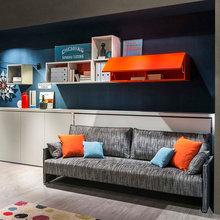 Фотография: Гостиная в стиле Лофт, Современный, Советы, Бежевый, Серый, Мебель-трансформер, кровать-трансформер, диван-кровать – фото на InMyRoom.ru