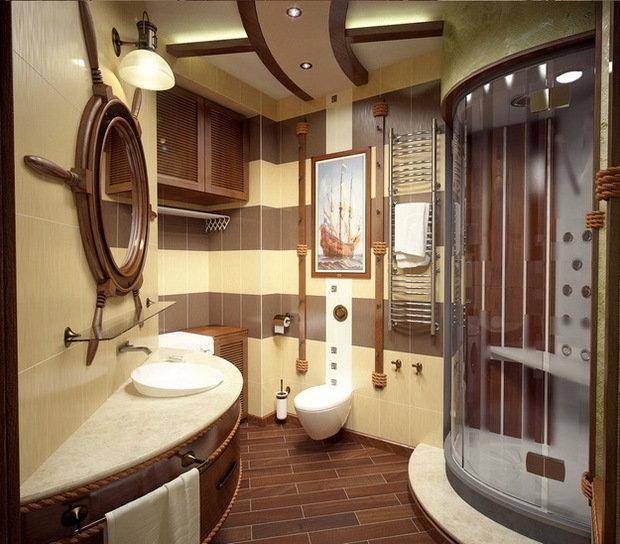 Фотография: Ванная в стиле Современный, Декор интерьера, Часы, Декор дома, Ткани, Галерея Арбен, Морской, Лампы – фото на InMyRoom.ru