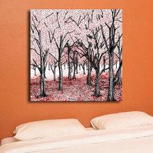 Декоративная картина на холсте: Красный лес