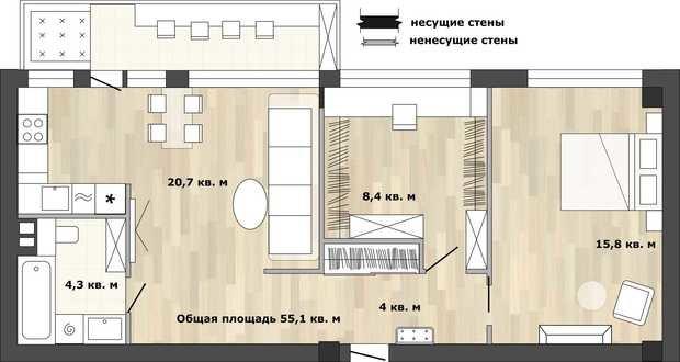 Фотография:  в стиле , Кухня и столовая, Перепланировка, Анастасия Киселева, дом серии 1МГ-601 – фото на InMyRoom.ru