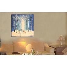 """Дизайнерская картина на холсте: """"Олени зимой"""""""