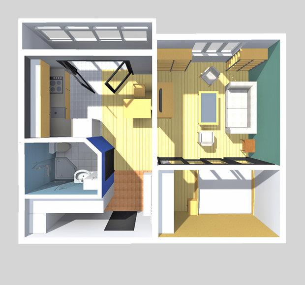 Фотография: Прихожая в стиле Современный, Малогабаритная квартира, Квартира, Планировки, Перепланировка, П-43, Панельный дом, 1 комната, до 40 метров – фото на InMyRoom.ru