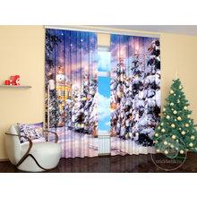 Фотошторы для гостиной: Снежная аллея
