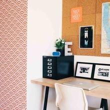 Фотография: Кабинет в стиле Современный, Малогабаритная квартира, Квартира, Советы, Бежевый, Бирюзовый, Зонирование, как зонировать комнату, как зонировать однушку, как зонировать однокомнатную квартиру – фото на InMyRoom.ru