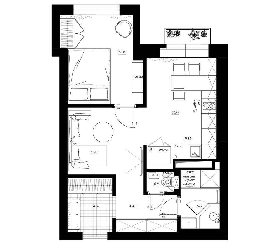 Фотография: Планировки в стиле , Квартира, Перепланировка, Санкт-Петербург, Никита Зуб, ЖК Граф Орлов, 1 комната, 40-60 метров, Монолитно-кирпичный, планировочная среда – фото на InMyRoom.ru