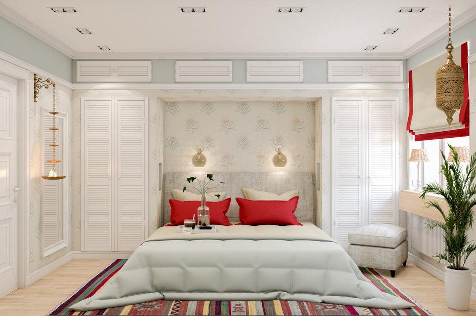 Фотография: Спальня в стиле Восточный, Квартира, Проект недели, Марина Саркисян, Московская область, 3 комнаты, 60-90 метров, Монолитно-кирпичный – фото на InMyRoom.ru