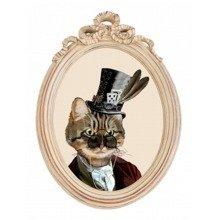 Репродукция гравюры «Мистер Кот» в раме «Бернадетт»