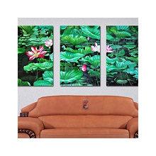 Триптих на холсте: Цветущий лотос