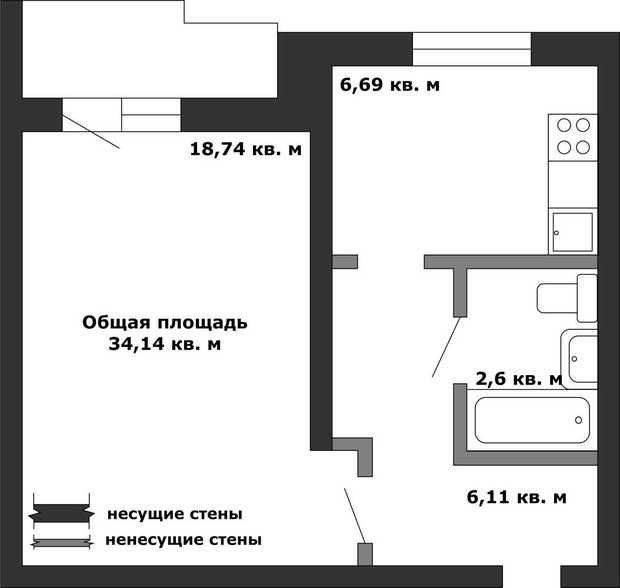 Фотография:  в стиле , Перепланировка, Анастасия Киселева, Максим Джураев, II-57 – фото на InMyRoom.ru