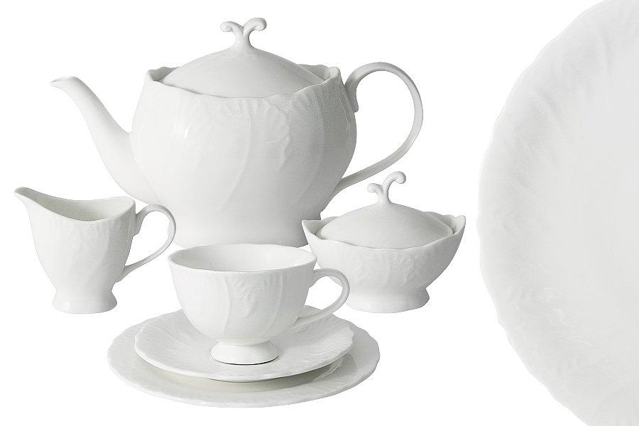 Чайный сервиз белый город из костяного фарфора