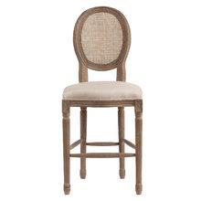 Барный стул Vintage French Round Cane Back Кремовый Лен