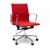 Charles  Ray Eames  Кресло Eames Style Ribbed Office Chair EA 117 красная кожа