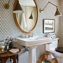 Фотография: Ванная в стиле Восточный, Малогабаритная квартира, Интерьер комнат – фото на InMyRoom.ru