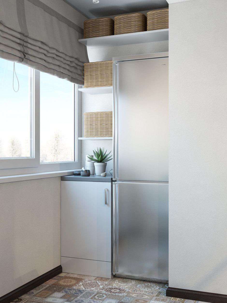 Фотография: Кухня и столовая в стиле Скандинавский, Проект недели, барная стойка на кухне, Сургут, новостройка, ДА-Дизайн, холодильник на балконе – фото на InMyRoom.ru
