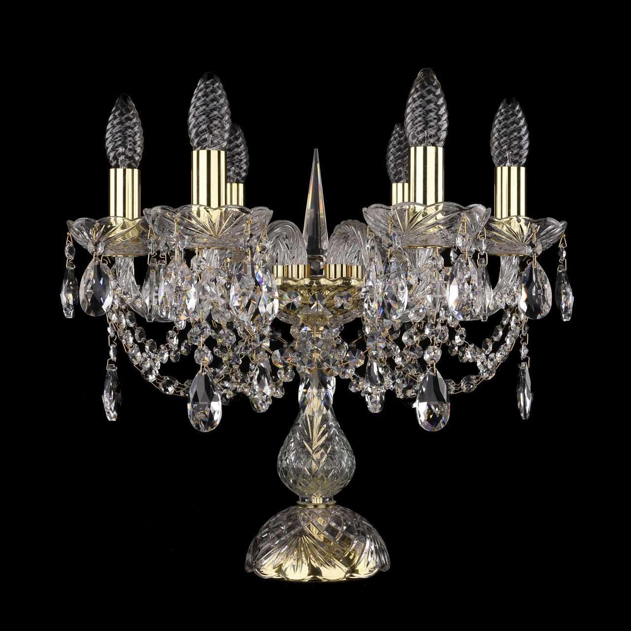 Настольная лампа с хрустальными подвесками