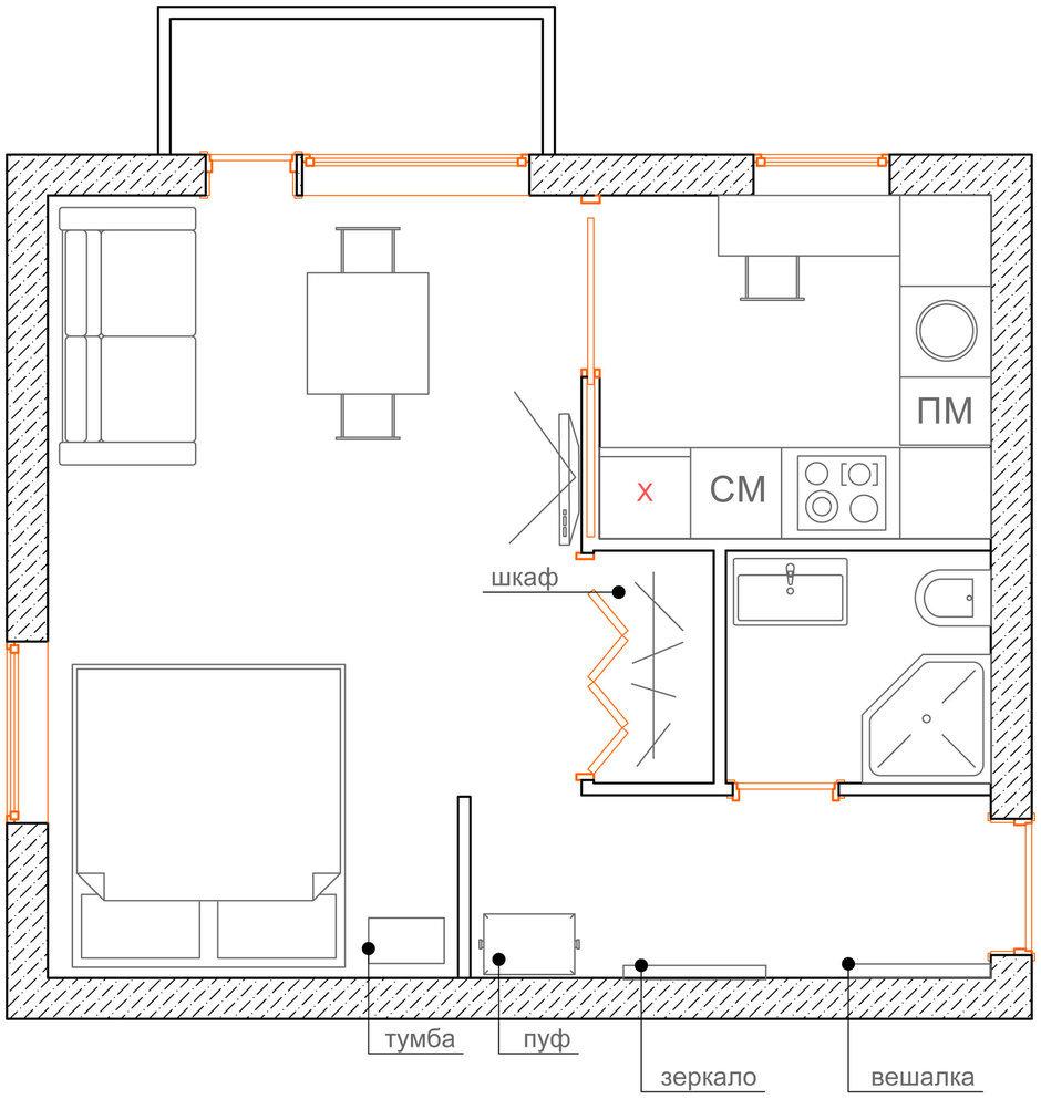 Фотография: Спальня в стиле Современный, Эклектика, Малогабаритная квартира, Квартира, Планировки, Перепланировка, Кирпичный дом, 1 комната, до 40 метров – фото на InMyRoom.ru