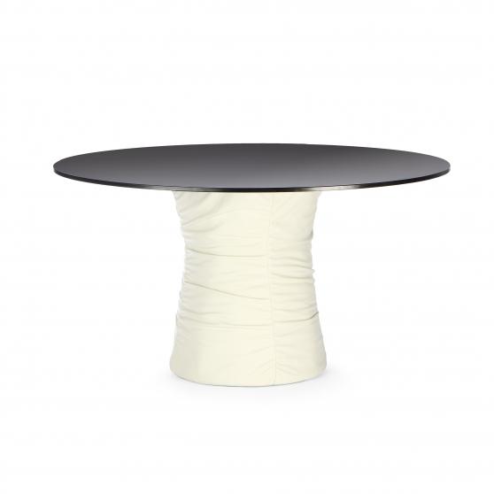 Обеденный стол Relax Walter с отделкой из анилиновой кожи и столешницей из закаленного стекла