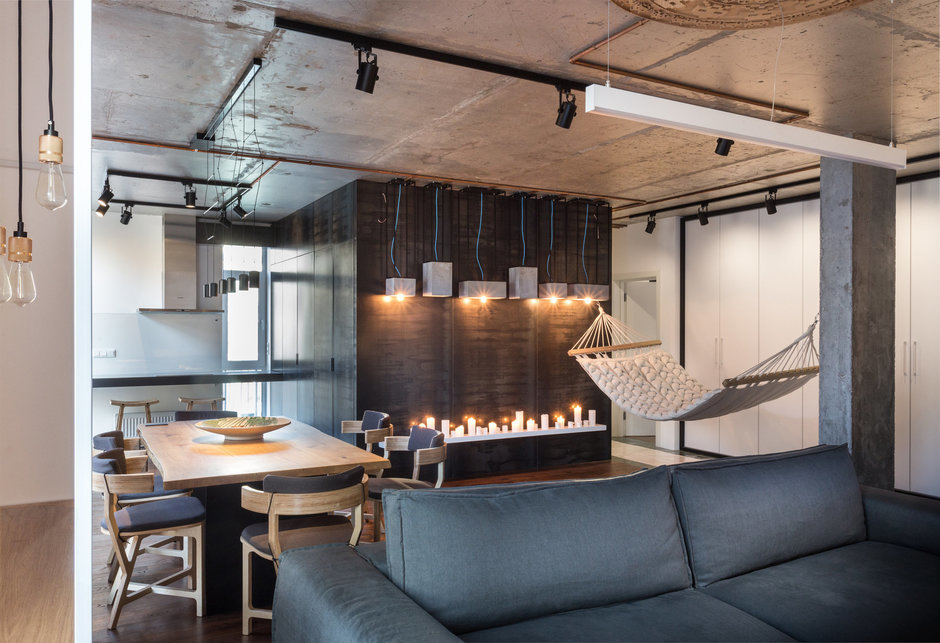 Фотография: Гостиная в стиле Лофт, Квартира, Проект недели, Киев, новостройка, Монолитный дом, 2 комнаты, 60-90 метров – фото на InMyRoom.ru