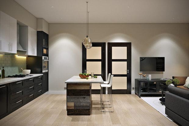 Фотография: Кухня и столовая в стиле Хай-тек, Минимализм, Лофт, Квартира, Проект недели – фото на InMyRoom.ru