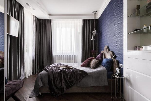 Фотография: Спальня в стиле Современный, Квартира, Проект недели, Москва, Монолитный дом, 3 комнаты, 60-90 метров, Ольга Рудакова, ЖК «Самаринский» – фото на INMYROOM