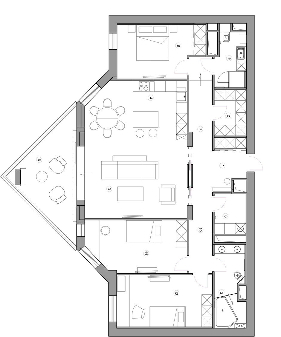 Фотография: Планировки в стиле , Квартира, Проект недели, Москва, Монолитный дом, 4 и больше, Более 90 метров, Юлия Кишкович – фото на InMyRoom.ru