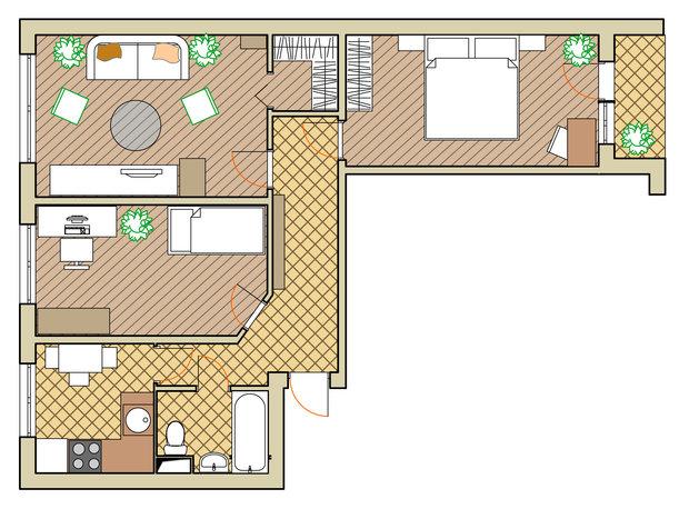 Фотография: Планировки в стиле , Малогабаритная квартира, Квартира, Дома и квартиры, Перепланировка, Переделка, II-49 – фото на InMyRoom.ru