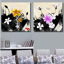 Красивый диптих на холсте: Цветочный хаос