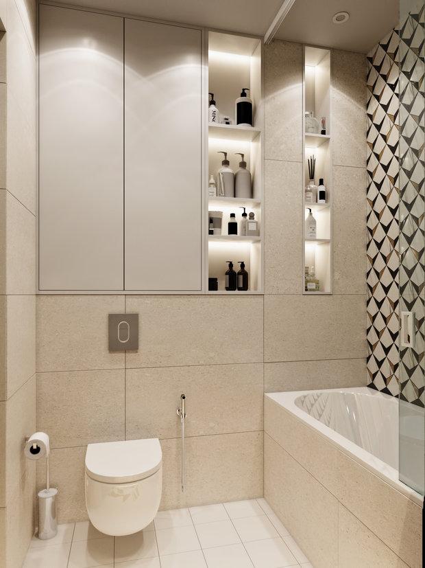 Фотография: Ванная в стиле Современный, Квартира, Проект недели, Москва, Монолитный дом, 2 комнаты, 60-90 метров, Бюро «Общая Площадь» – фото на INMYROOM