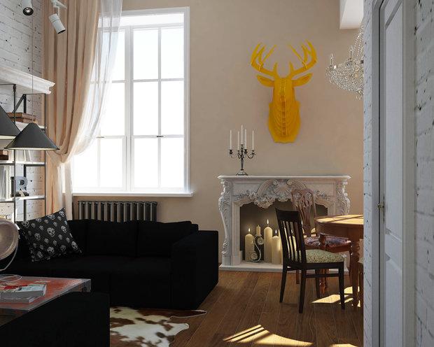 Фотография: Гостиная в стиле Лофт, Эклектика, Квартира, Дома и квартиры, IKEA, Проект недели – фото на InMyRoom.ru
