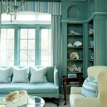 Фотография: Гостиная в стиле Кантри, Декор интерьера, Дизайн интерьера, Цвет в интерьере, Бирюзовый – фото на InMyRoom.ru