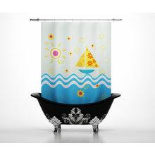 Шторы в ванну: Кораблик на волнах