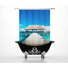 Стильные шторы для ванной: Тропический рай