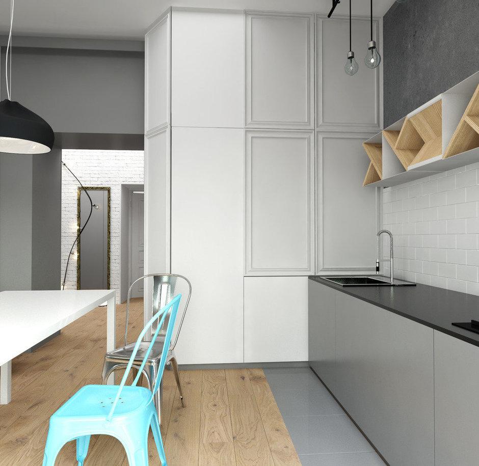 Фотография: Кухня и столовая в стиле Лофт, Скандинавский, Квартира, Белый, Проект недели, Синий – фото на InMyRoom.ru
