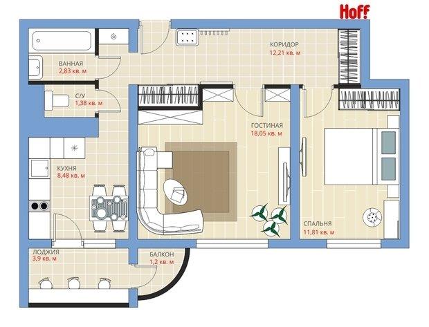 Фотография:  в стиле , Квартира, HOFF, Перепланировка, HOFF, Анастасия Киселева, П-111М, Панельный дом, 2 комнаты, 40-60 метров – фото на InMyRoom.ru
